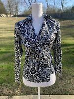 Ann Taylor Wrap Blouse Size 4 Small Black White Floral Paisley Shirt
