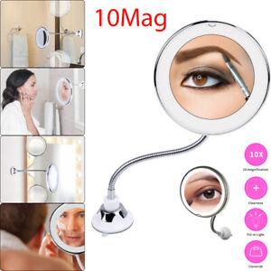 LED Schminkspiegel 10-fach Vergrößerung Badezimmer Kosmetikspiegel mit Saugnapf