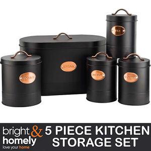 5 Piece Storage Kitchen Canister Set Tea Coffee Sugar Biscuit Tin Bread Bin Jars