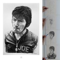 Joey Dunlop Road Racing and TT Legend Pencil Portrait Giclée Fine Art Print