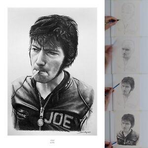 Joey Dunlop Road Racing and TT Legend Pencil Portrait Giclée Fine Art Print