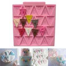 Letter Flag Bunting Silicone Fondant Mold Cake Decorating Chocolate Baking Mould