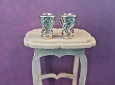 2 silver engraved metal goblets cup chalice 1:24th scale dolls house king castle