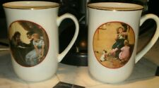 1982 Norman Rockwell 2 Mug Set Cw Collection Special Edition Young Love Series