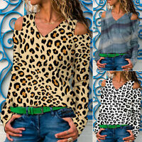 Women Cold Shoulder Leopard Shirts V Neck Long Sleeve Casual  Tunic Blouse Tops