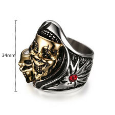 Punk Gold Skull Red Rhinestone Stainless Steel Biker Ring Mens Cool Band Jewelry