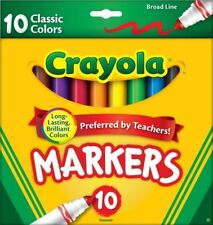 (5x) New Crayola- 10/Markers-per/pack Brilliant Colors Broad Line Lot# Eb50