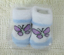 Baby Booties Stretchy Cotton Blend Butterfly Motif 0-3 Months New in Packaging