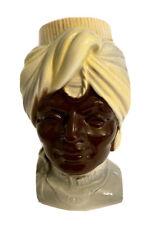 1940's Vintage Royal Copley African Blackamoor Head Decorative Vase, Planter