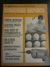 Consumer Reports February 1966 GE 11 inch Color TV Sewing Machines (H)