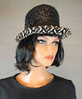Raffia Bowler Hat S 6 3/4 Vintage 60s Black White Brown Shiny Straw Bow Accent