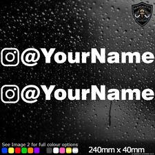 2x Personalised Instagram Name Car Window Stickers Decal Vinyl Bumper Sticker