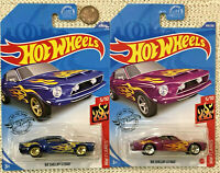 HOT WHEELS Lot of 2 Ford Shelby Mustang '68 GT500 - New PURPLE N case & Blue!