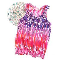 Cato Womens Top Size Medium Pink Purple White Tie Dye Sleeveless Ruffle Career