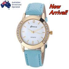 NEW ARRIVAL Luxury Gold Simple Light Blue Wristwatch Women Leather Analog Quartz