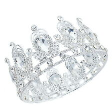 TQE55 Clear Rhinestone Crystal Alloy Holy White Tiara Vintage Royal Crown
