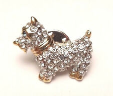 VINTAGE DOG PUPPY CLEAR RHINESTONES LAPEL PIN COLLAR PUSH BROOCH