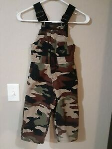 WALLS BLIZZARD PRUF YOUTH SIZE XS 4/5 CAMO BIB OVERALLS, INSULATED ZIP LEGS SNOW
