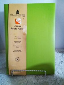 Gallery Leather LEATHER PHOTO ALBUM, LIME GREEN - Handcrafted Bonded Leather...