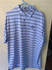Peter Millar Mens Golf Shirt XL Purple Mesa Verde Polo Summer Comfort Stripe