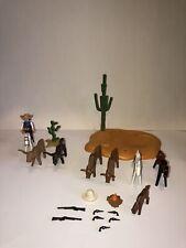 PLAYMOBIL 3801 3749 WATERING HOLE LONGHORN TRAIL Cowboy Horses Cows Cactus Guns