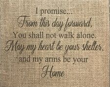 "Primitive I Promise Wedding Rustic Country Barn Burlap Banner Panel Sign 8""x10"""