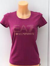 EMPORIO ARMANI Large Beaded EA7 Logo Tee in Dark Pink Sizes S-2XL BNWT