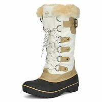 Women's Warm Faux Fur Lined Mid Calf Lace Up Winter Cold-weather Snow Boots