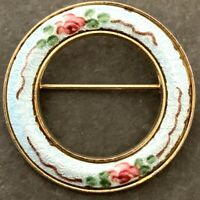 VINTAGE GUILLOCHE ENAMEL CIRCLE PIN BROOCH PINK ROSE ACCENTS GOLD TONE METAL