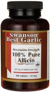 Swanson 100% Pure Allicin Max Strength 12mg 100 Tablets   Immune System Support