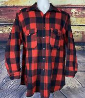 Vtg 1940s 50s Woolrich Wool Buffalo Plaid Shirt Jacket flannel USA Fits Mens L