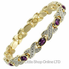 NEW Ladies Magnetic Bracelet with Pretty Purple Crystals Health FREE GIFT BOX