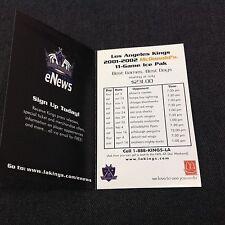 Los Angeles Kings 2001-2002 Hockey Schedule McDonald's 11 Game Ice Pack