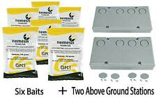 6 Baits & 2 Nemesis Termite Above Ground Monitor Bait Stations Pest Control