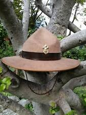 BOY SCOUT MASTER HAT Vintage  Wool Felt BSA Campaign Corded Leader Official brim