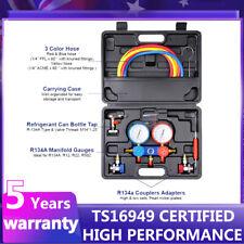 CarBole 4 Way AC Manifold Gauge Set R502 R22 R12 R134A HVAC Diagnostic Charging Tool - Multicoloured