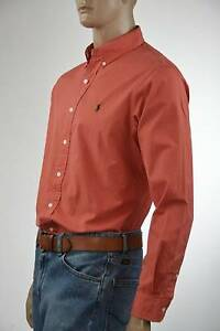 Ralph Lauren Classic Fit Orange Long Sleeve Cotton Shirt/Green Pony-NWT