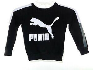 Puma Unisex Size 4T Sweatshirt Black With White Embellishment Long Sleeve