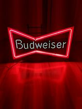 """Vintage 29"""" Anheuser Busch Budweiser Beer Bow Tie Neon Bar Advertising Sign Usa"""