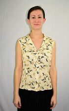 St John Collection by Marie Gray Ivory Gold Flower Print Silk Top Blouse Size 2