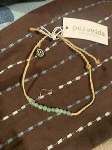 NEW Pura Vida Mini Braided Tan With Teal Beads
