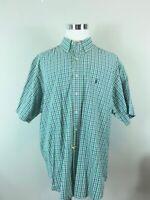 Ralph Lauren Mens Yarmouth Oxford Shirt Green Purple Plaid Short Sleeve 18.5