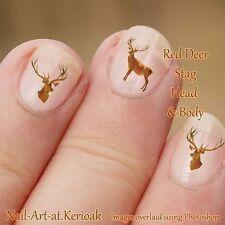 Red Deer Stag, Arte en Uñas pegatinas, calcomanías, cabeza y cuerpo, Conjunto de 24 Animal Salvaje