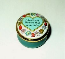 "Halcyon Days Enamel Box - ""Friends Are Flowers."" & Heart - Neiman Marcus - Mib"