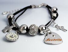 Genuine Braided Leather Charm Bracelet With Name - ISABELLA - Gifts for her