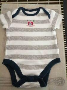 Boys F&F striped babygrow 0-3mths.