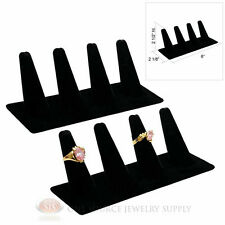 """(2) Four Finger Black Velvet Ring Display 2 1/2"""" Presentation Showcase Jewelry"""