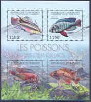 BURUNDI 2012 FISH OF THE GREAT LAKES SHEET OF FOUR MNH