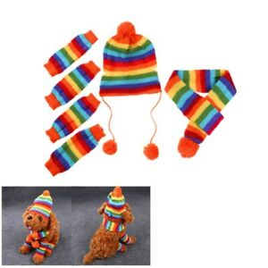 Pet Christmas Wool Clothes Dog Cat Puppy Knit Hat Scarf Leg Cover Set Xmas Decor