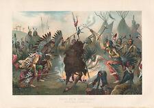 Sioux beim Kriegstanz Indianer Stamm Waffen Tipi Federn Glaube Ethno Chromo 19
